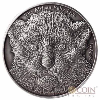 "Burundi Baby Leopard ""African Baby Big Five"" series High Relief Silver coin 5,000 Francs 1 oz Antique Finish 2014"