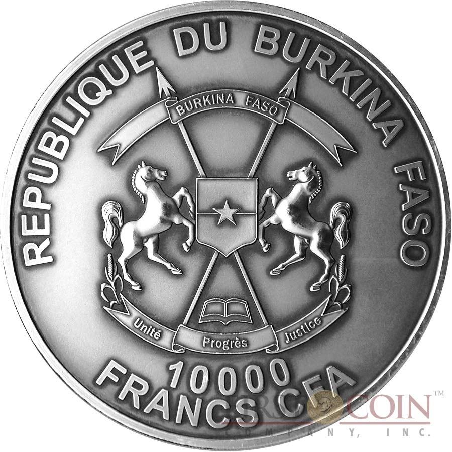 Burkina Faso Canonization John Paul II Silver coin 10000 Francs 1 Kilo/kg Ultra High Relief Handmade Antique Finish 2014