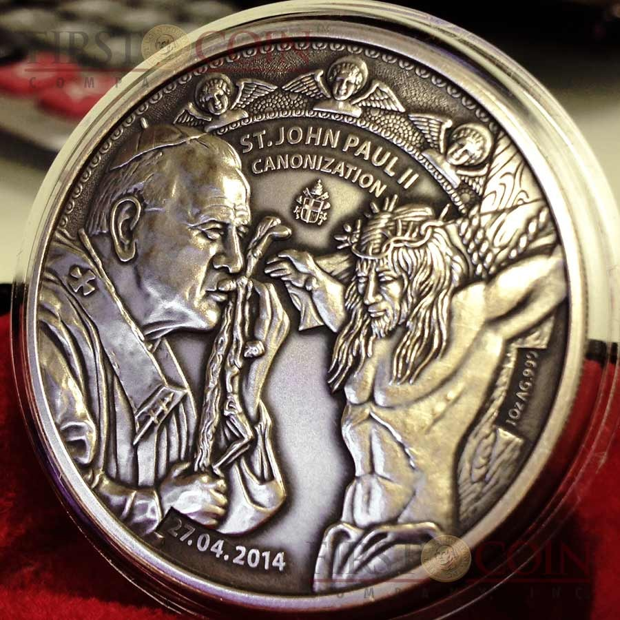 Benin Canonization John Paul II Silver coin 1000 Francs 1 oz Ultra High Relief Handmade Antique Finish 2014