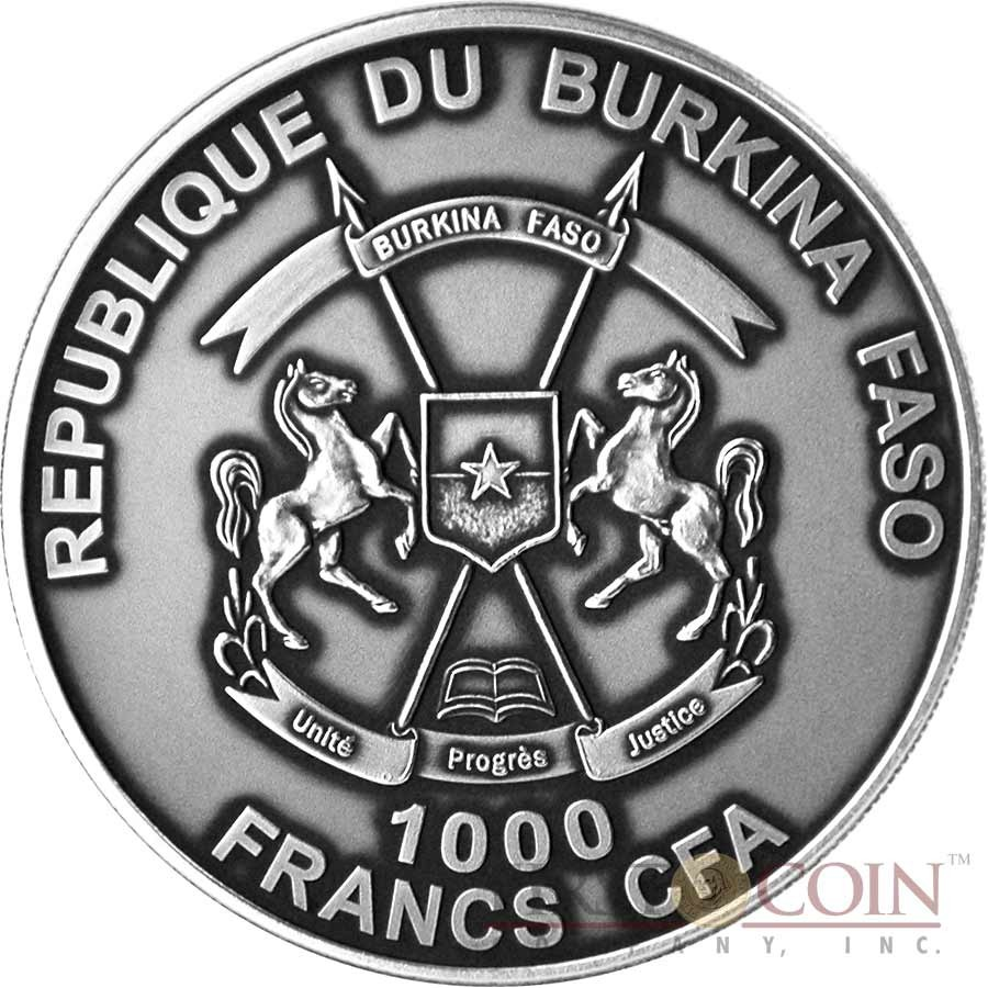 Burkina Faso CHATEAU RENARD METEORITE FRANCE Silver coin 1000 Francs Premium Antique finish 2016 with Real Meteorite 175 years old 1 oz