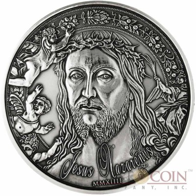 Burkina Faso Jesus Nazarenus Silver coin 1000 Francs 1 oz Ultra High Relief Handmade Antique Finish 2014