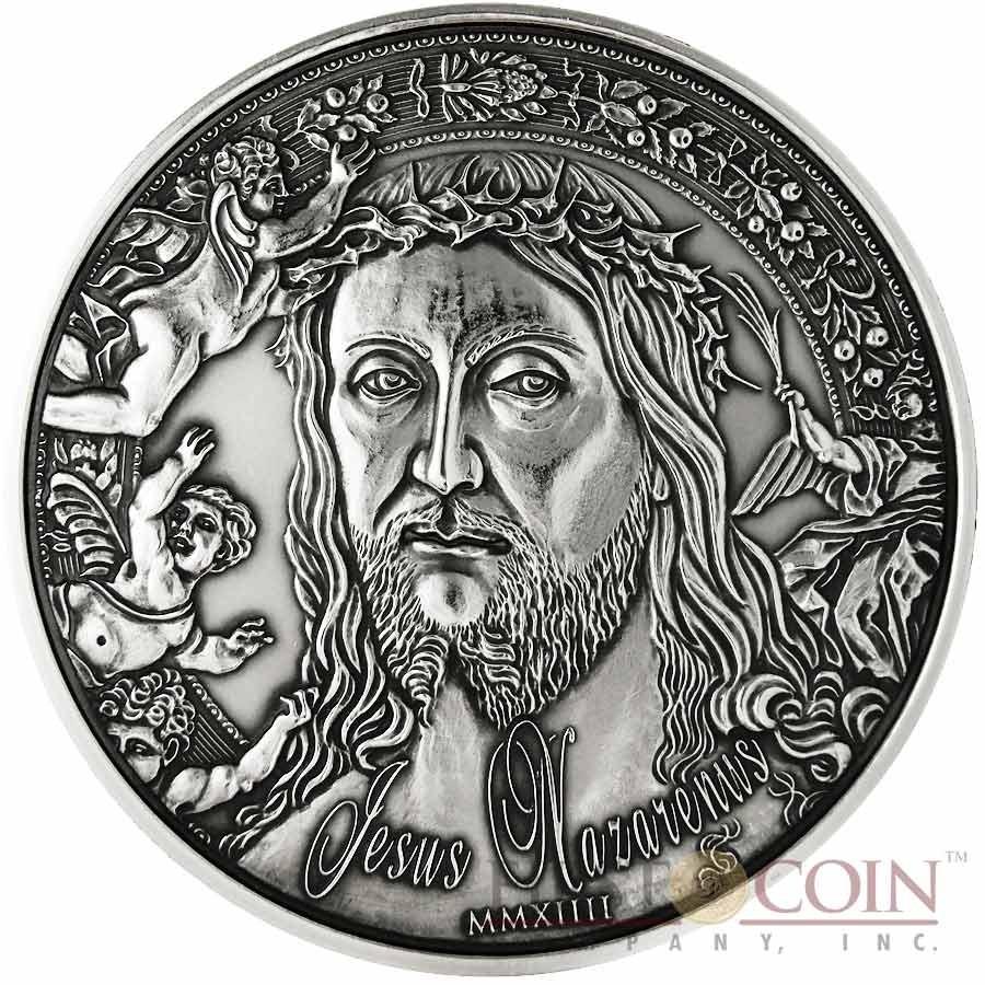 Burkina Faso Jesus Nazarenus Silver coin 10000 Francs 1 Kilo/kg Ultra High Relief Handmade Antique Finish 2014