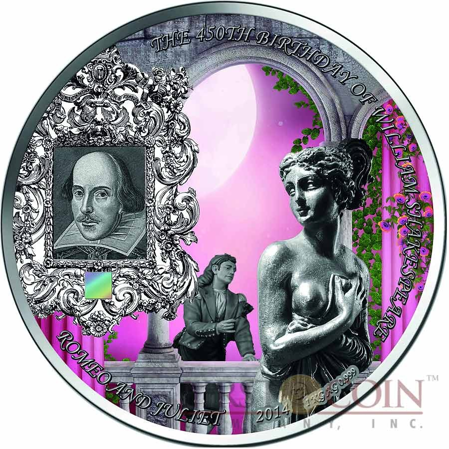 Benin SHAKESPEARE - ROMEO and JULIET 10000 Francs Innovative NANO CHIP Silver coin with 25,948 words William Shakespeare 1 Kg ( Kilo ) Antique finish 2014