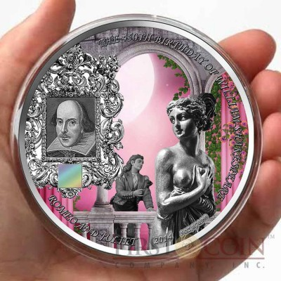 Benin SHAKESPEARE - ROMEO and JULIET 5000 Francs Innovative NANO CHIP Silver coin with 25,948 words William Shakespeare 5 oz Antique finish 2014