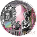 Benin SHAKESPEARE - ROMEO and JULIET 1000 Francs Innovative NANO CHIP Silver coin with 25,948 words William Shakespeare 1 oz Antique finish 2014