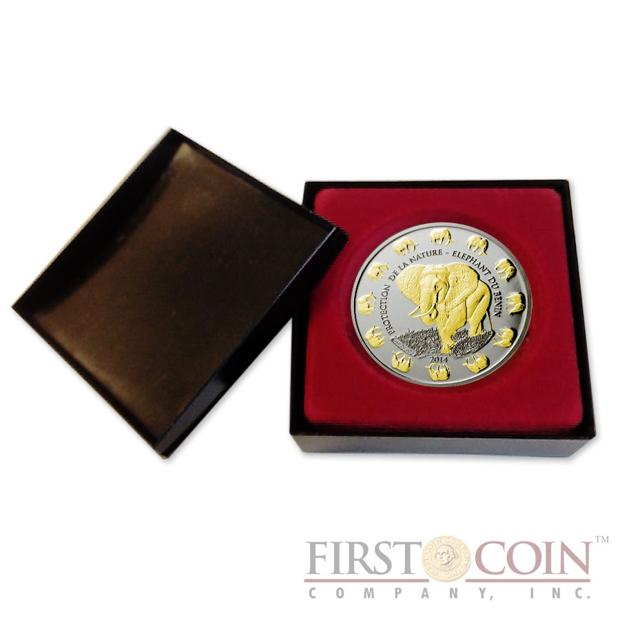 """Benin Elephant """"Protection of Nature"""" series Silver Gilded coin 1,000 Francs 1 oz Proof-like 2014"""