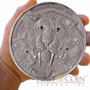 Burkina Faso Family SMILODON Saber Toothed Tiger 10,000 Francs CFA Prehistoric Animals series Real Eyes High Relief Silver coin 1 Kilo (Kg) Antique Finish 2013