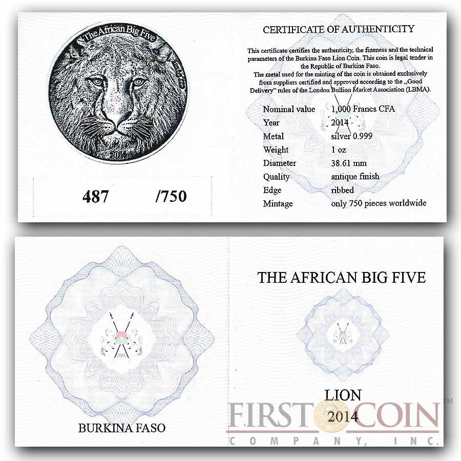"Burkina Faso The Lion ""African Big Five"" series High Relief Silver coin 1,000 Francs 1 oz Antique Finish 2014"