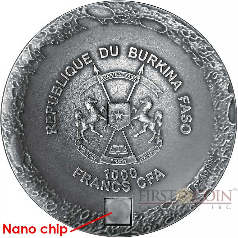 Burkina Faso MOON LUNAR METEORITE FROM THE MOON TO THE EARTH with NANO CHIP 1000 Francs Silver coin 2016 Ultra High Relief Real NWA 10546 Lunar Meteorite Antique finish Concave Convex shape 1 oz