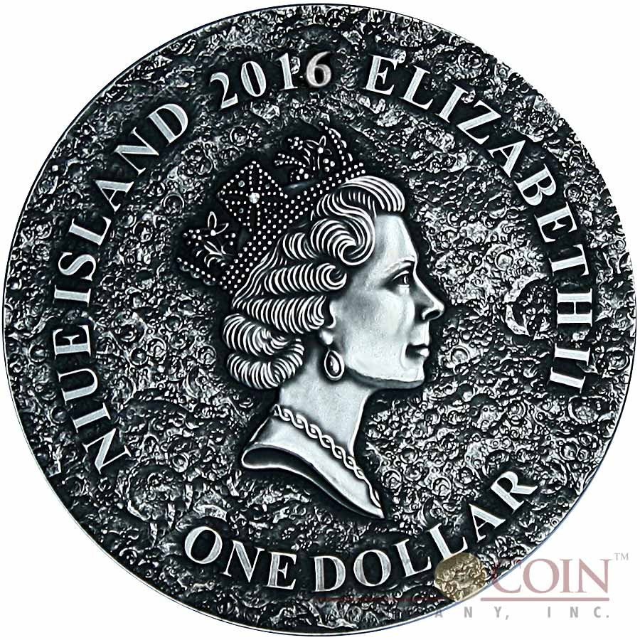 Niue Island MARS MARTIAN METEORITE NWA 6963 Silver coin $1 Premium Handmade Antique finish 2016 High Relief with Real Martian meteorite 1 oz