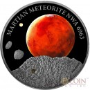 Niue Island MARS MARTIAN METEORITE NWA 6963 Silver coin $1 Premium Handmade Antique finish 2016 High Relief with Real Martian meteorite 1 oz