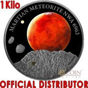 Niue Island MARS MARTIAN METEORITE NWA 6963 Silver coin $50 Premium Handmade Antique finish 2016 High Relief with Real Martian meteorite 1 Kilo