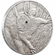 Palau Red Squirrel Antique Finish 1 oz $5 Silver Coin 2012 Swarovski