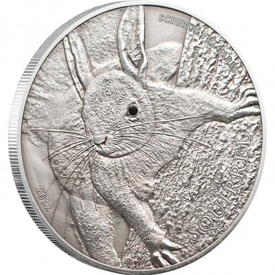 Palau Red Squirrel Antique Finish 1 oz $5 Silver Coin 2012 Swarovski