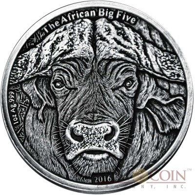 Burkina Faso AFRICAN BUFFALO series THE AFRICAN BIG FIVE 1000 Francs Silver coin 2016 High relief Handmade Antique Finish 1 oz