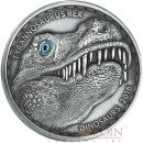 Burkina Faso DINOSAUR TYRANNOSAURUS REX series DINOSAURS 1000 CFA Francs Silver Coin High Relief 2016 Antique Finish Premium Real Eye Effect 1 oz