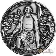 Burkina Faso CHRISTOPHER COLUMBUS LE MONDE EN AVENTURES 1000 Francs Silver coin 2016 High relief Handmade Antique Finish 1 oz