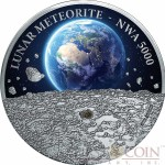 Niue Island METEORITE LUNAR NWA 5000 AFRICA Silver Coin $50 Real Meteorite piece Ultra High Relief 2015 Antique finish 1 Kilo