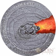 Niue Island METEORITE CAMPO DEL CIELO 1576 ARGENTINA Silver Coin $50 Real Meteorite piece Ultra High Relief 2015 Antique finish 1 Kilo