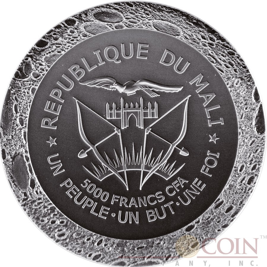 Republic of Mali MERCURY FROM THE MERCURY TO THE EARTH METEORITE NWA 7325/8409 Silver coin 5000 Francs CFA Antique finish 2016 Ultra High Relief Convex shape with Real Mercury meteorite 5 oz