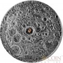 Republic of Mali MOON LUNAR FROM THE MOON TO THE EARTH METEORITE NWA 8599 Silver coin 5000 Francs CFA Antique finish 2015 Ultra High Relief Convex shape with Real Moon meteorite 5 oz