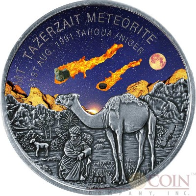 Niger Mt TAZERZAIT METEORITE TAHOUA Silver coin 1000 Francs Premium Antique finish 2016 with Real Meteorite Stone 1 oz