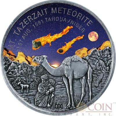 Niger Mt TAZERZAIT METEORITE TAHOUA Silver coin 1000 Francs Premium Antique finish 2016 with Real Meteorite Stone 1 oz