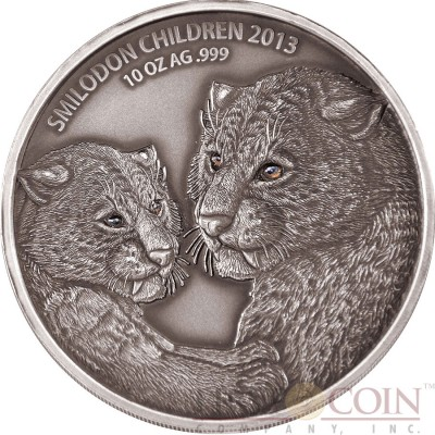 Burkina Faso CHILDREN SMILODON SABER TOOTHED TIGER series Prehistoric Animals Silver coin 5000 Francs CFA Real Eyes High Relief 2013 Antique Finish 10 oz