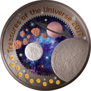 Republic of Ghana MOON series TREASURES OF THE UNIVERSE 5 GH₵ Cedis 2017 Silver Coin 10 Pallamants inlay 1 oz