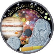 Republic of Ghana GALILEO GALILEI series TREASURES OF THE UNIVERSE 5 GH₵ Cedis 2018 Silver Coin 3 Pallamants inlay 7 Metal plated 1 oz