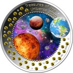 Republic of Ghana MARS series TREASURES OF THE UNIVERSE 5 GH₵ Cedis 2020 Silver Coin 33 Pallamants inlay Gold plated 1 oz
