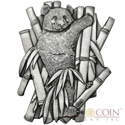 Burkina Faso THE GIANT PANDA series WORLD'S 8 SCULPTURE COINS Animals Of Every Continent 1000 Francs Silver coin 2016 High relief Handmade Antique Finish CUT OUT TECHNIQUE 1 oz