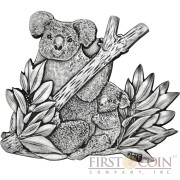 Burkina Faso THE KOALA series WORLD'S 8 SCULPTURE COINS Animals Of Every Continent 1000 Francs Silver coin 2016 High relief Handmade Antique Finish CUT OUT TECHNIQUE 1 oz