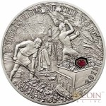 Palau RUBY $5 Treasures of the World Series Silver Coin Ruby Insert Antique Finish 2011