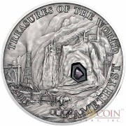 Palau Amethyst $5 Treasures of the World Series Silver Coin Amethyst Insert Antique Finish 2013