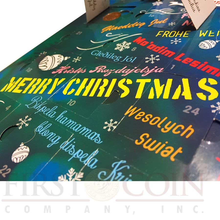 24 COUNTRIES MERRY CHRISTMAS CALENDAR 24 Bimetal Coin Set with Open 24 windows with Christmas greetings & Coin details Wall mount