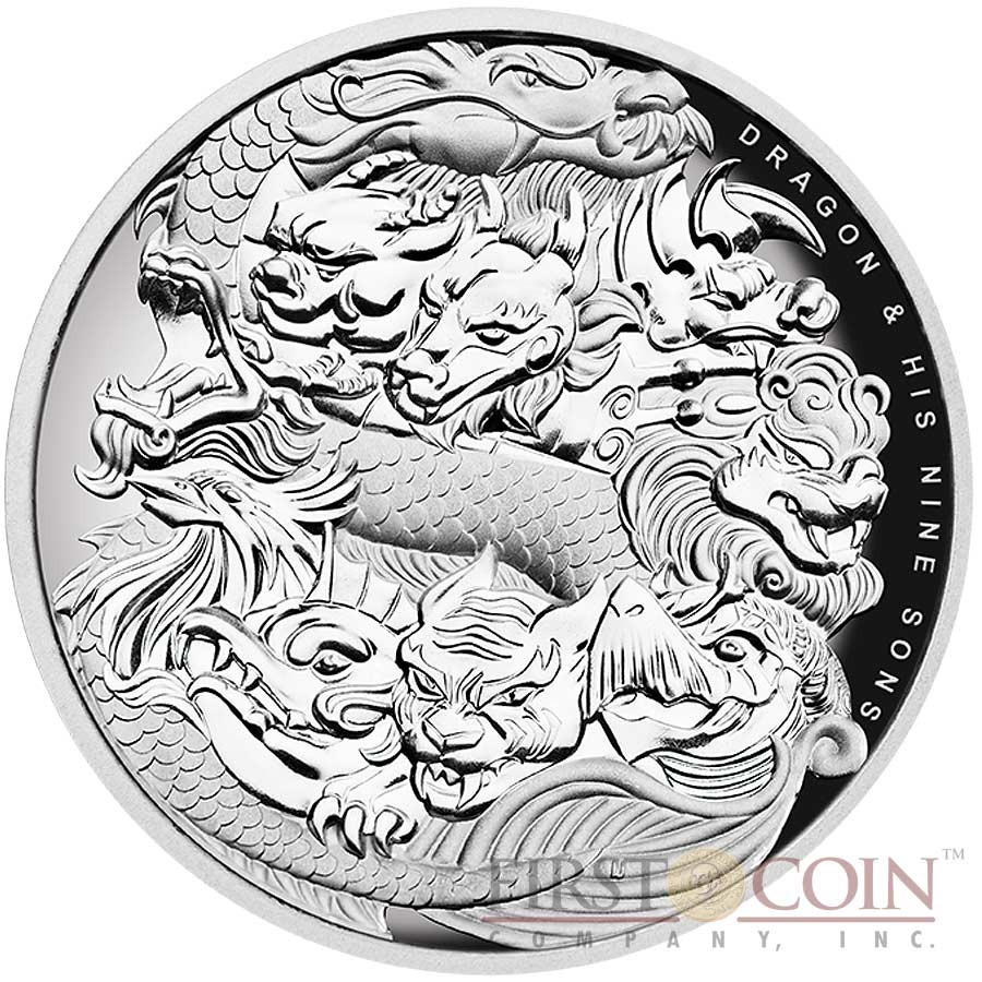 The Four Dragons Niue 2019 Silver $5 Proof  Coin- 2 OZ  Silver Dragons