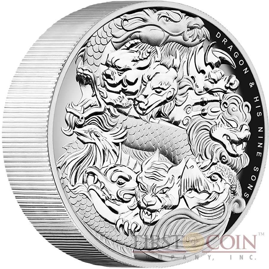 Tuvalu DRAGON and HIS NINE SONS CHINESE MYTHOLOGY MYTHICAL CREATURES $5 Silver Coin 2016 Ultra High Relief Concave shape Proof 5 oz