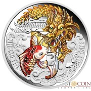 Tuvalu KOI FISH JUMPS THE DRAGON GATE $5 Silver Coin 2016 Proof 5 oz
