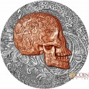 Republic of Cameroon CARVED SKULL series CARVED SKULLS & BONES Silver coin 1000 Francs 2017 Partial copper plated Antique finish Ultra High Relief 1 oz
