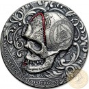 Republic of Cameroon CARVED SKULL of St. ALOYSIUS GONZAGA series CARVED SKULLS & BONES Silver coin 1000 Francs 2018 Antique finish Ultra High Relief 1 oz