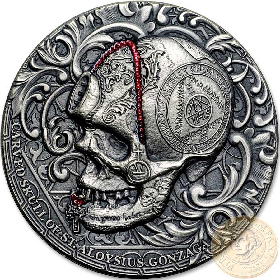 2017 1 Oz Silver 1000 Francs CARVED SKULL BONES Coin Cameroon.