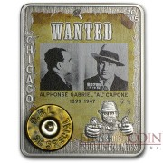 Central African Republic HISTORY OF PUBLIC ENEMIES AL CAPONE 1000 Francs Silver Coin 2015 Antique finish Real bullet inlay 1 oz