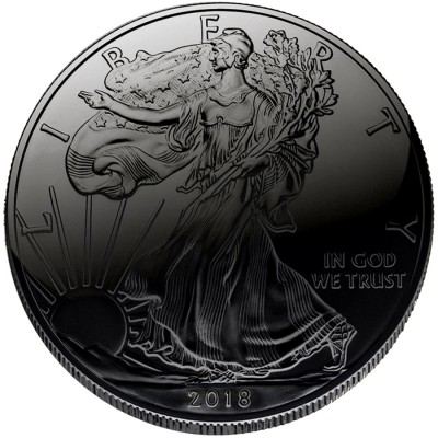 USA BLACK HOLE American Silver Eagle Walking Liberty $1 Silver coin 2018 Ruthenium plated 1 oz
