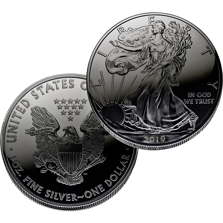 USA BLACK HOLE American Silver Eagle Walking Liberty $1 Silver coin 2019 Ruthenium plated 1 oz