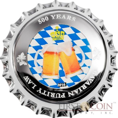 Palau 500 YEARS BAVARIAN PURITY LAW Silver Coin $1 Crown Cork Shape 2016