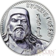 Mongolia CHINGGIS KHAAN 1st MONGOL EMPIRE KING OF KINGS 1000 Togrog Silver coin 2016 HIGH RELIEF Smartminting technology Proof 1 oz