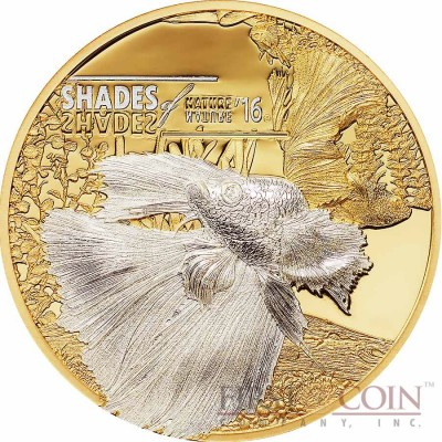 Cook Islands FIGHTING FISH series SHADES OF NATURE $5 Silver Coin 2016 Smartminting Gold plated Micro minting technique