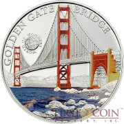 Palau GOLDEN GATE SAN FRANCISCO CALIFORNIA series WORLD OF WONDERS Silver Coin $5 High Quality Printing High Details 2013 Proof