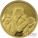 Somalia MONKEYS Gold Coin 4000 Shillings High Quality Printing High Details 2006 Proof 1/25 oz